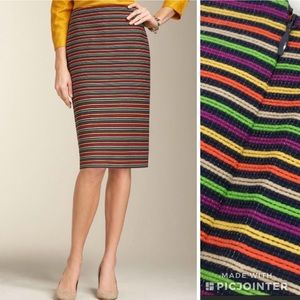 Talbots Corded Stripe Pencil Skirt Multicolored 4P